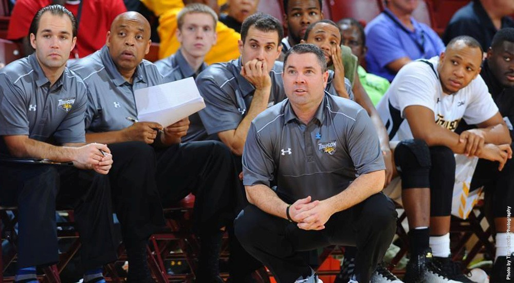 Coach Pat Skerry will lead the 3 seeded Tigers against the Huskies on Saturday night (Credit: Towson Athletics)