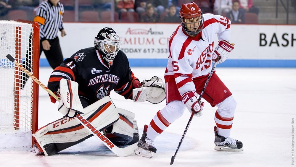 Men's hockey salvaged one point from a weekend series with No. 4 Boston University (Image Credit: Northeastern Athletics).