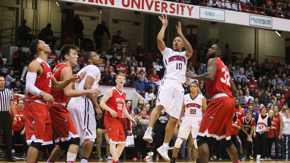 Senior point guard T.J. Williams (10) is leading the CAA with 21.5 points per game (Image Credit: Northeastern Athletics).