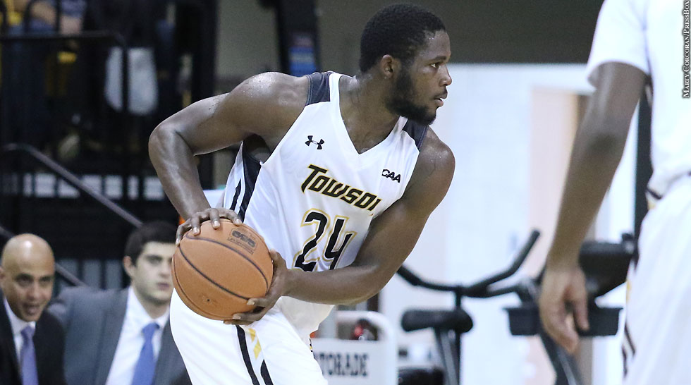 Towson's William Adala Moto tallied 24 points and seven boards to lift the Tigers over NU (Image credit: pressboxonline.com)