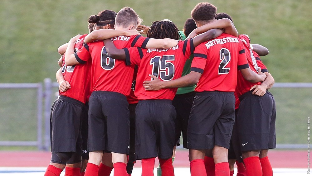 The Northeastern men's soccer team welcomes 10 freshman to a core that includes five seniors (Image Credit: GoNU).